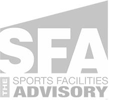 Sports Facilities Advisory Grey Faded Logo
