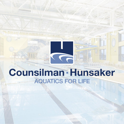 Counsilman Hunsaker Aquatic Recreation Center Logo with Facility in Backround