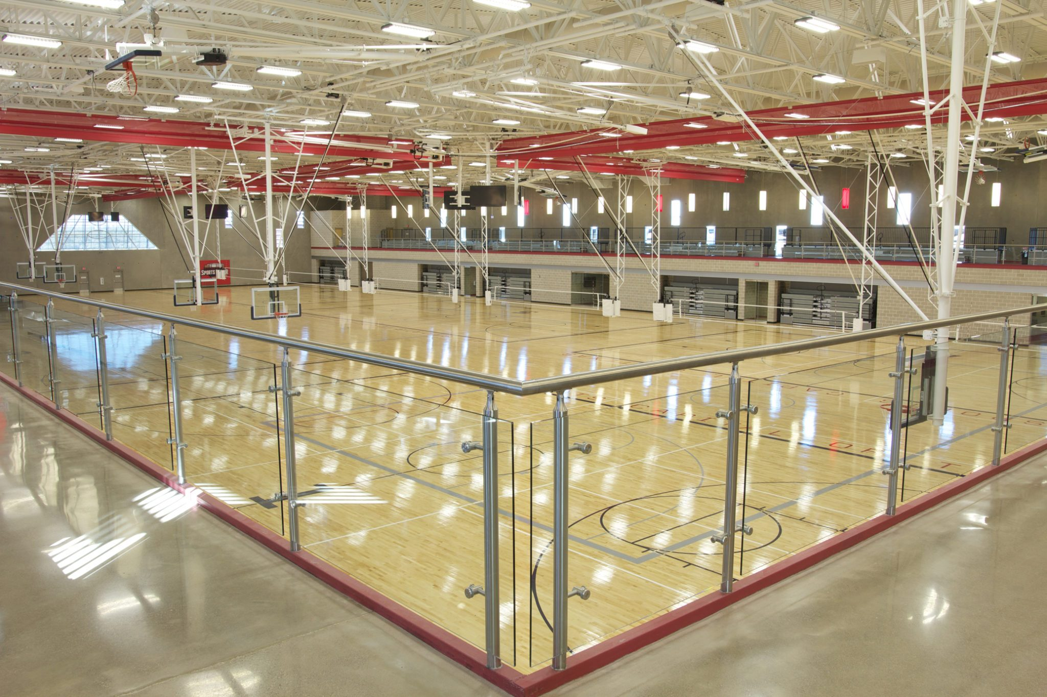 Recreation Center with Basketball Courts and Volleyball Nets