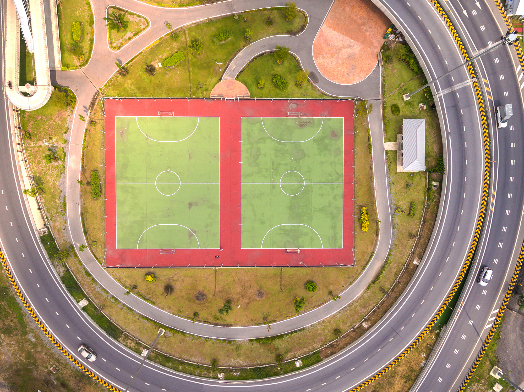 Aerial view of sports complex run by Sports Facilities Management