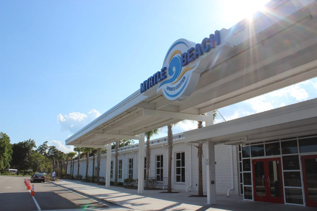 Front view of Myrtle Beach Sports Center, a client of Sports Facilities Advisory