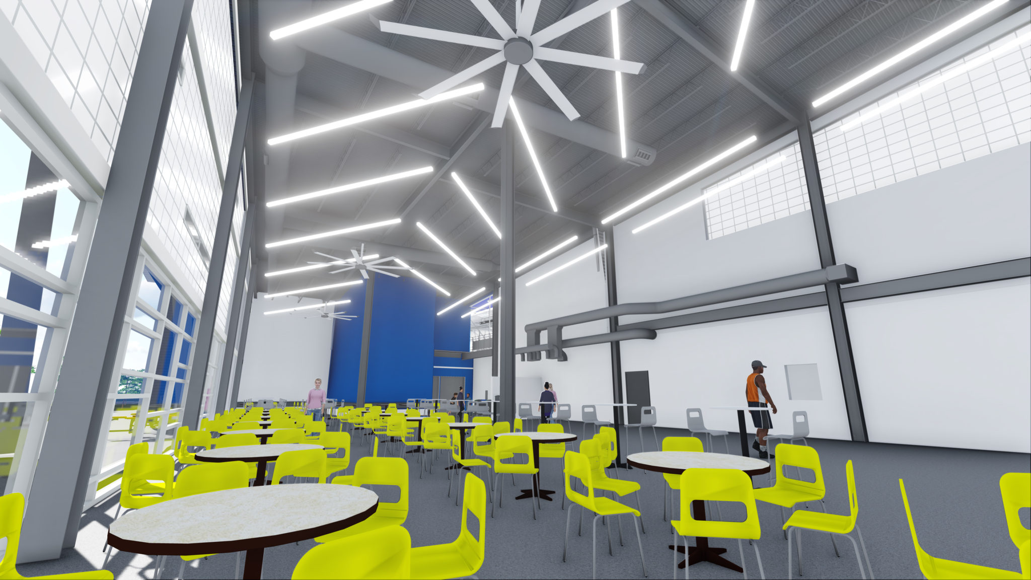 digital render of foodcourt seating area at a sports complex
