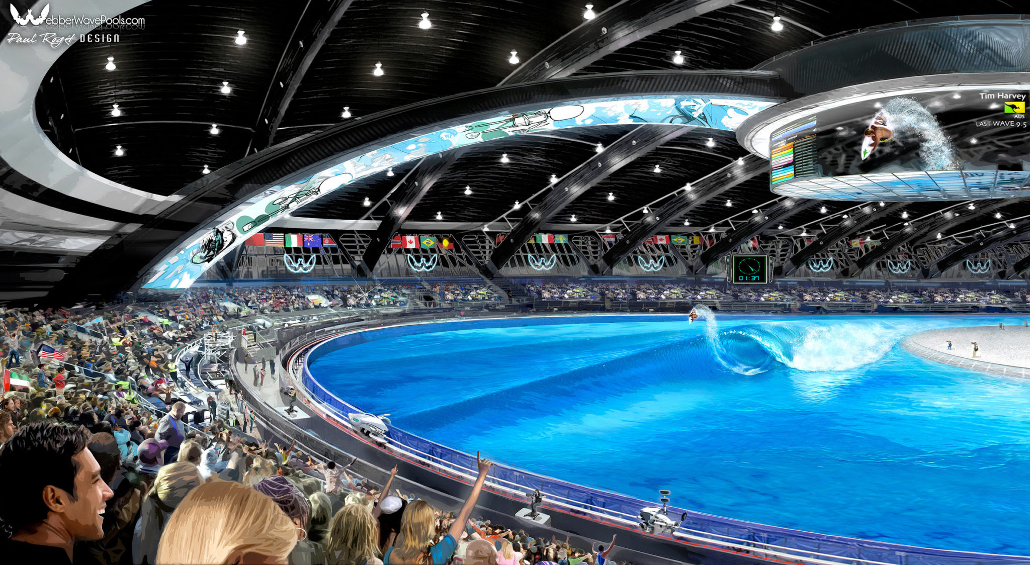 Mockup of the Webber Wave facility, a client of Sports Facilities Advisory