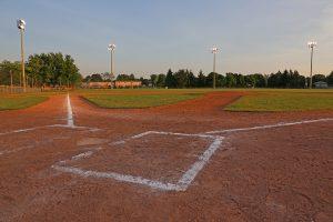 A baseball field sports facility
