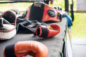 Close up of boxing equipment