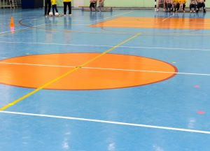 Multi-purpose center basketball floor