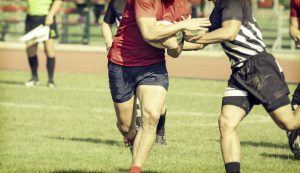 Rugby plays fighting for ball