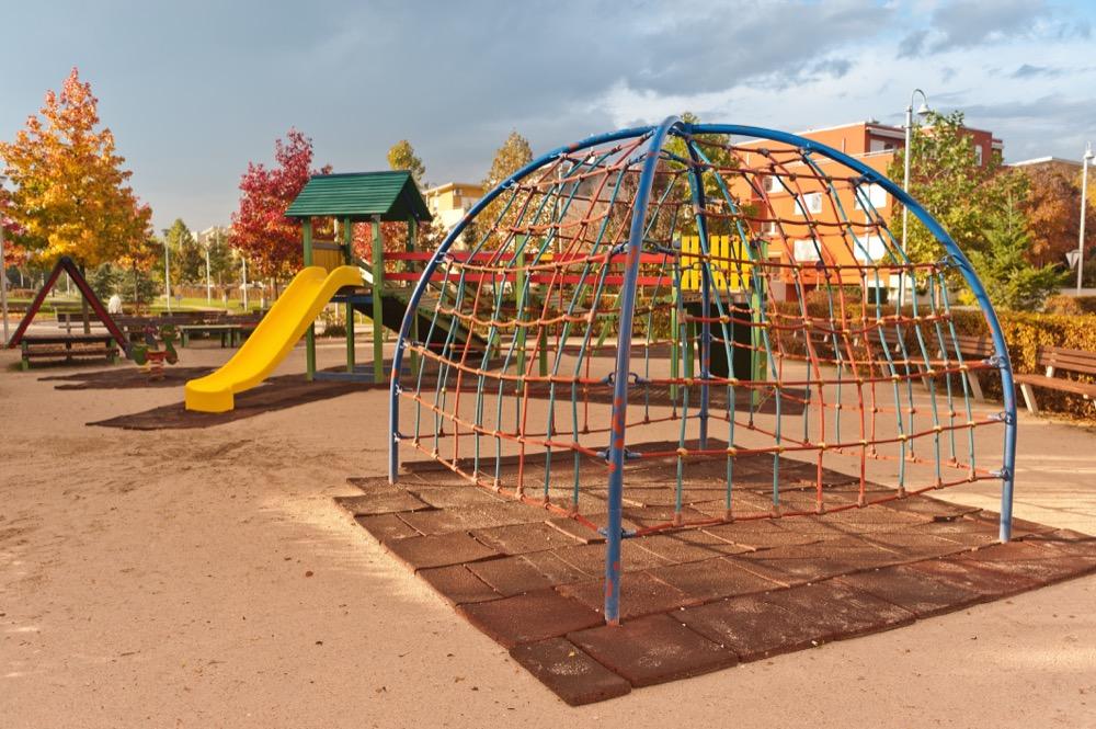 Empty playground in community center