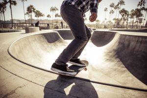 Skater at a skatepark with FF&E