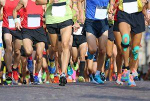 Marathon runners racing