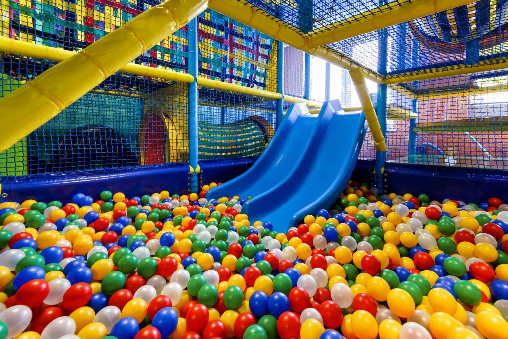 Indoor ball pit and slide