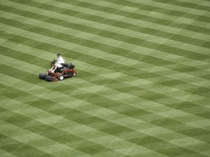 Person mowing baseball field