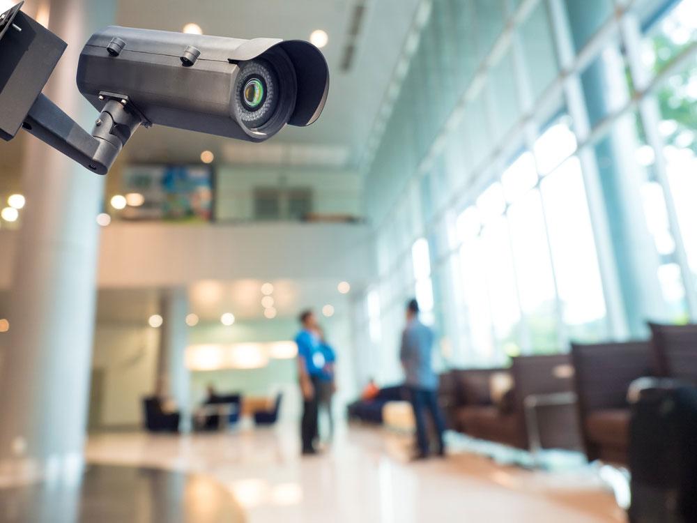 Security camera in building