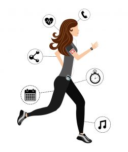 Illustration of woman running with tech gadgets