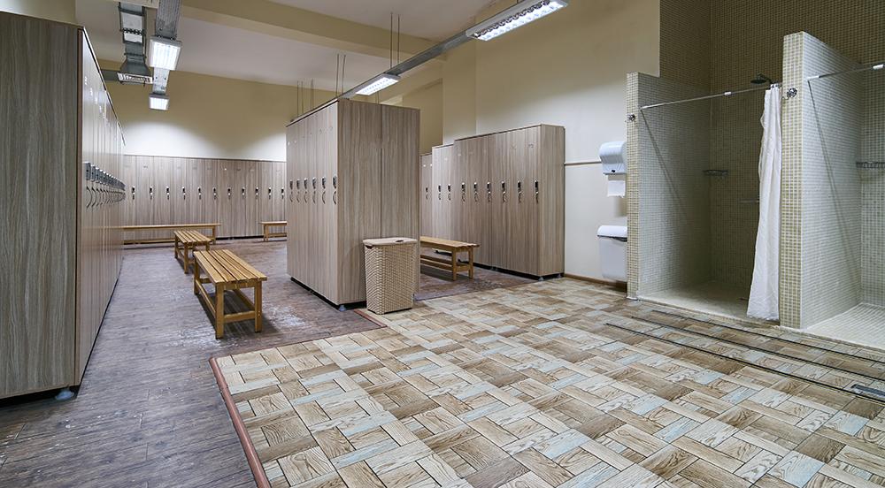 Interior shot of a locker room