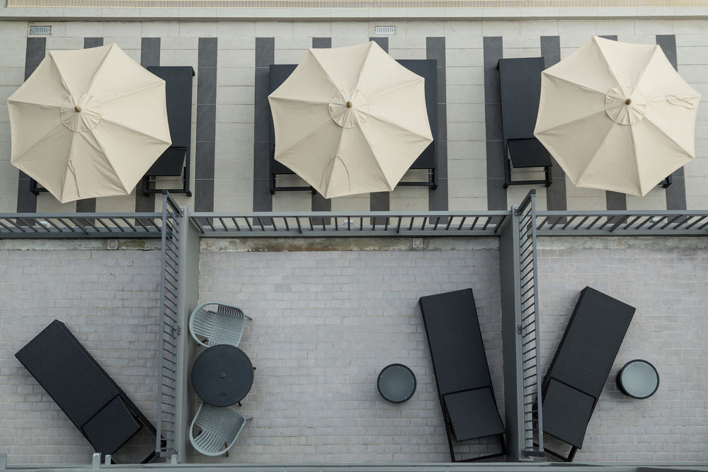 Pool chairs and umbrellas
