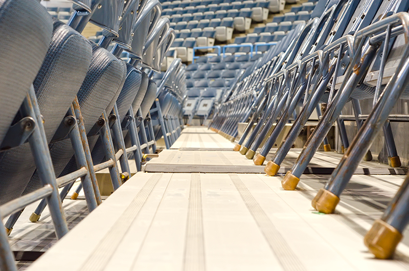 Seating at an indoor sports facility