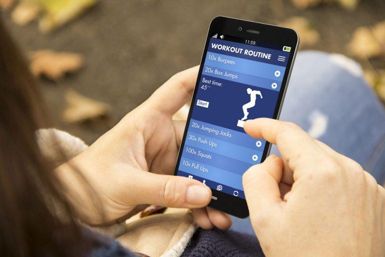 Smartphone fitness app.