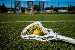 Lacrosse ball on the grass in front of a net.