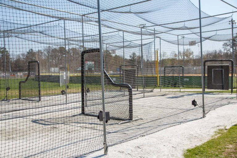 Batting cages in public baseball sports complex
