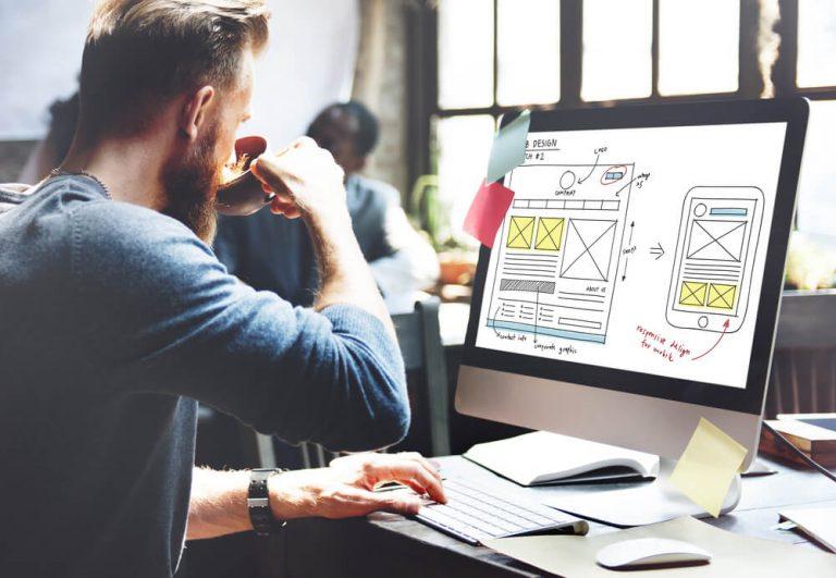 Web designer creating new website