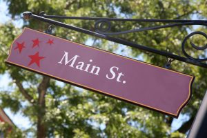 Small town main street sign